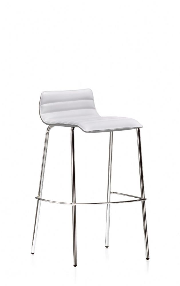 Pledge Bjorn High Bistro Chair With Ribbed Style Outlines And 4 Chrome Legs